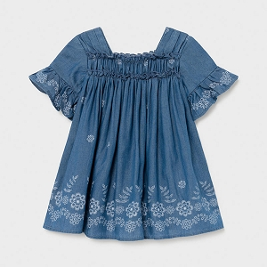 Mayoral Loose Denim Ruffle Dress