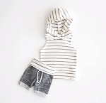 Coastal Stripe Hoodie and Short Set