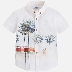 Boys Beach Print Button Up Shirt