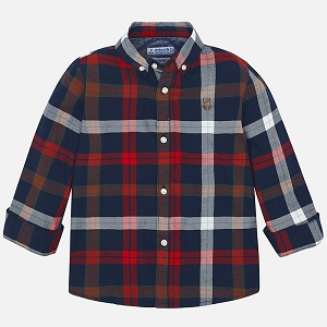 Mayoral Boys Button Down Shirt - Red Plaid
