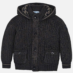 Mayoral Boys Hooded Knit Jacket - Navy Brown