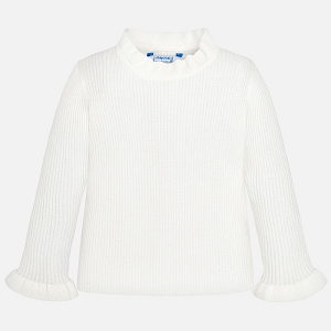 Mayoral Girls Long Sleeve Ribbed Layering Tee - Off White