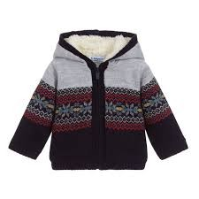 Baby Boy Hooded Knit Jacket - Navy Fairisle
