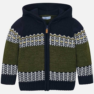 Mayoral Boys Hooded Knit Jacket - Moss