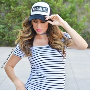Striped Bardot Maternity Shirt