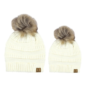 Mommy & Me Beanie Set - Cream