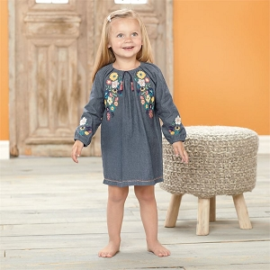 Mud Pie Chambray Floral Embroidered Dress