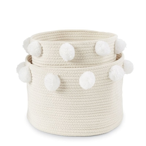 Mud Pie Pom Pom Basket Set - White