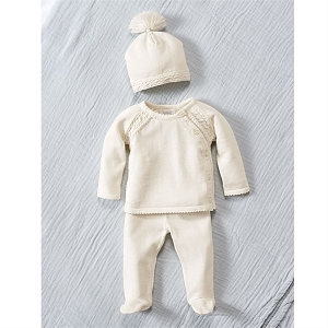 Mud Pie Ivory Knit Take-Me Home Set
