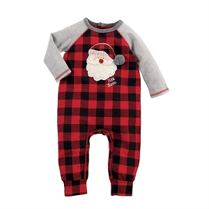 Mud Pie Buffalo Check Santa One Piece
