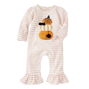 Mud Pie Stacked Pumpkin Ruffle Romper