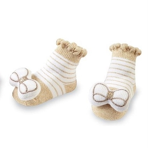 Mud Pie Bow Toe Rattle Socks - White