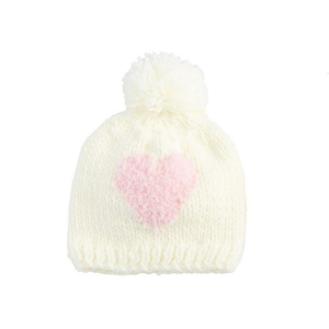 Mud Pie White Heart Knit Hat