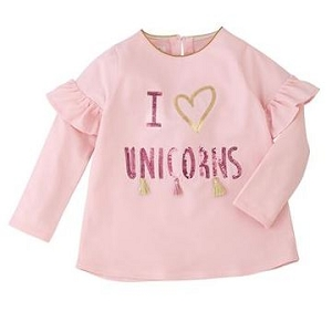 Mud Pie Sequin Tee - I Love Unicorns