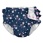 Iplay Ruffle Snap Swim Diaper - Navy Posies