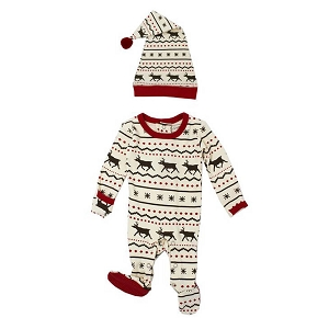 Organic Long Sleeve Overall Set - Fair Isle Reindeer