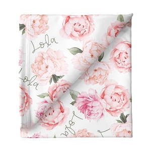Peach Peonies Personalized Swaddle