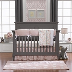 Liz and Roo Petal Pink Linens Crib Bedding