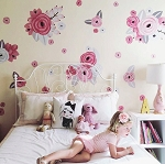Pink & White Graphic Flower Wall Decals