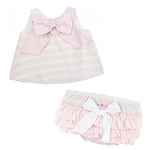 RuffleButts Pink Stripe Sateen Swing Set