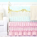 Caden Lane Pink, Aqua and Gold Sparkle Baby Bedding