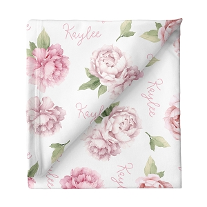 Peonies Personalized Swaddle