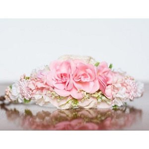 Pink and Ivory Floral Crown