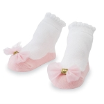 Mud Pie Pink Mesh Bow Socks