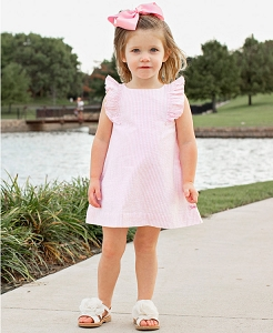 RuffleButts Pink Seersucker Jumper Dress
