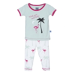 Kickee Pants Pajama Set - Natural Flamingo
