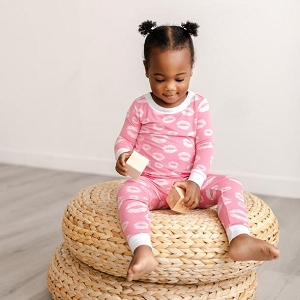 Pink Kisses Two-Piece Bamboo Viscose Pajama Set