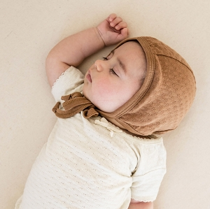 Pointelle Baby Bonnet - Copper