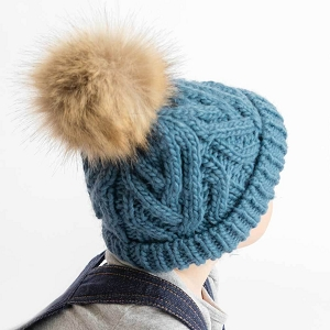Slate Blue Cable Knit Pom Beanie
