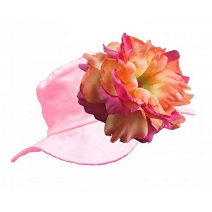 Pale Pink Sun Hat with Orange Raspberry Peony