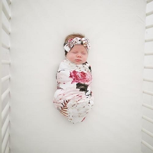 Posh Peanut Swaddle Set - Black Rose