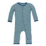 KicKee Pants Print Coverall with Snaps - Anniversary Stripe