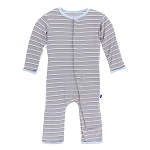KicKee Pants Print Coverall with Snaps - Boy Parisian Stripe