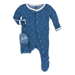 Kickee Pants Print Footie with Snaps - Twilight Starry Sky