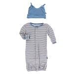 Kickee Pants Gown Converter Set - Boy Parisian Stripe