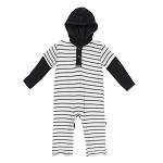 KicKee Pants Hoodie Romper - Natural Parisian Stripe
