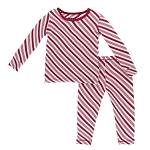 KicKee Pants Print Pajama Set - Candy Cane Stripe