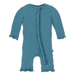 Kickee Pants Solid Muffin Ruffle Coverall with Snaps - Seagrass