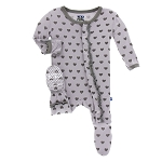Kickee Pants Print Ruffle Muffin Footie with Snaps - Feather Hearts