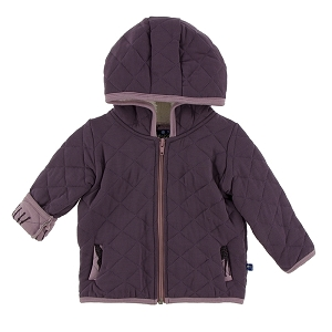 Kickee Pants Quilted Jacket with Sherpa Lined Hoodie - Fig with Sweet Pea Giraffe