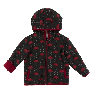 Kickee Pants Quilted Jacket with Sherpa Lined Hoodie - Candy Apply with Umbrellas & Rain Clouds