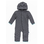 Kickee Pants Coverall with Sherpa Lined Hoodie - Stone with Glacier