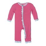 Kickee Pants Contrast Ruffle Coverall - Winter Rose