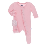 Kickee Pants Basic Ruffle Footie with Snaps - Lotus