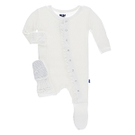 Kickee Pants Basic Ruffle Footie with Snaps - Natural
