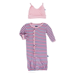 Kickee Pants Print Ruffle Converter Gown & Hat Set - Flamingo Stripe